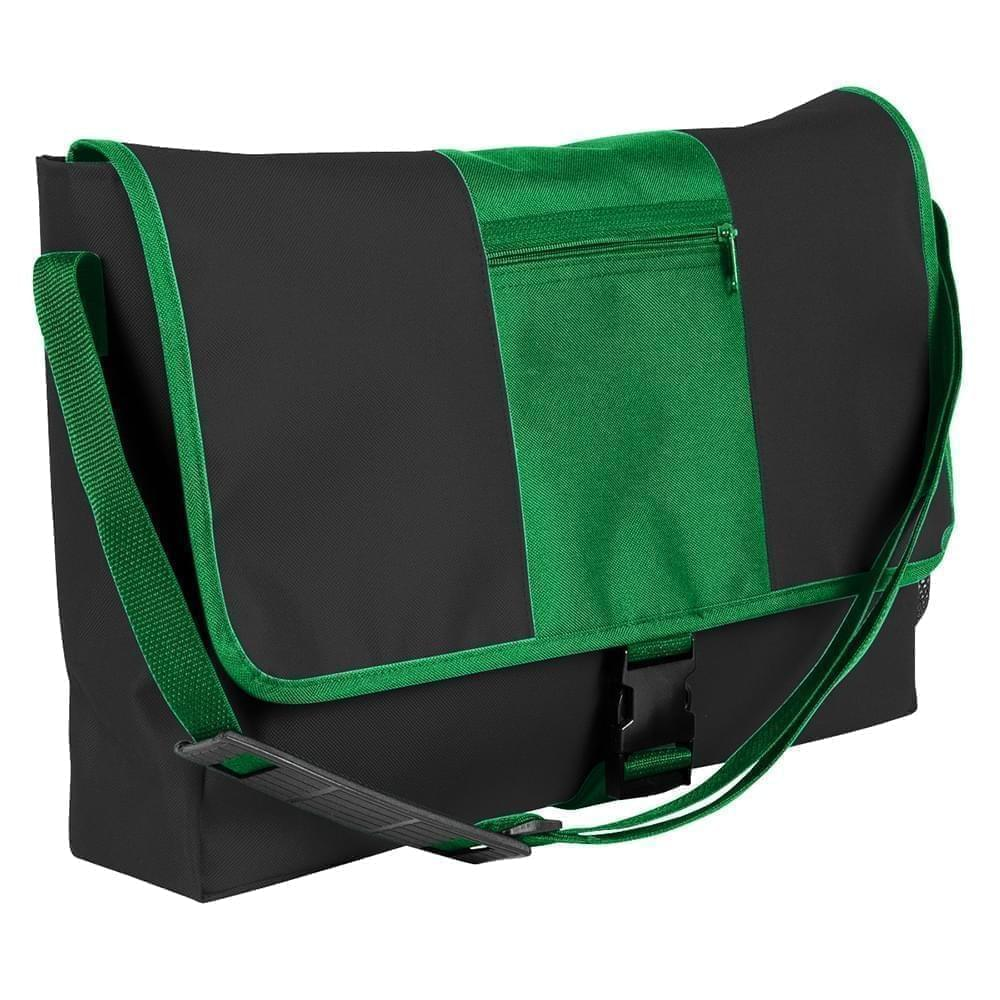 USA Made Nylon Poly Dad Shoulder Bags, Black-Kelly Green, OHEDA19AOH
