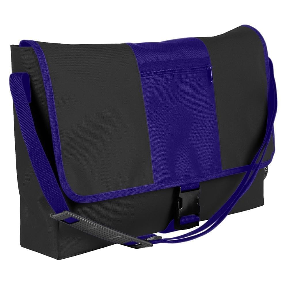 USA Made Nylon Poly Dad Shoulder Bags, Black-Purple, OHEDA19AOK