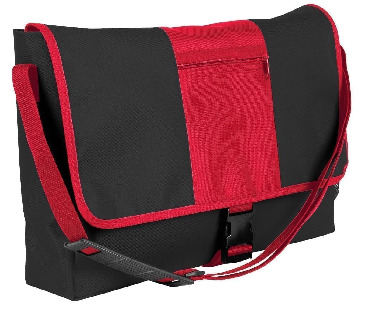 USA Made Nylon Poly Dad Shoulder Bags, Black-Red, OHEDA19AOL