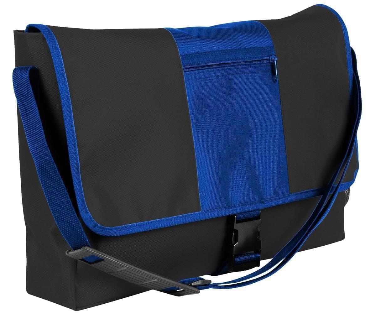 USA Made Nylon Poly Dad Shoulder Bags, Black-Royal Blue, OHEDA19AOM
