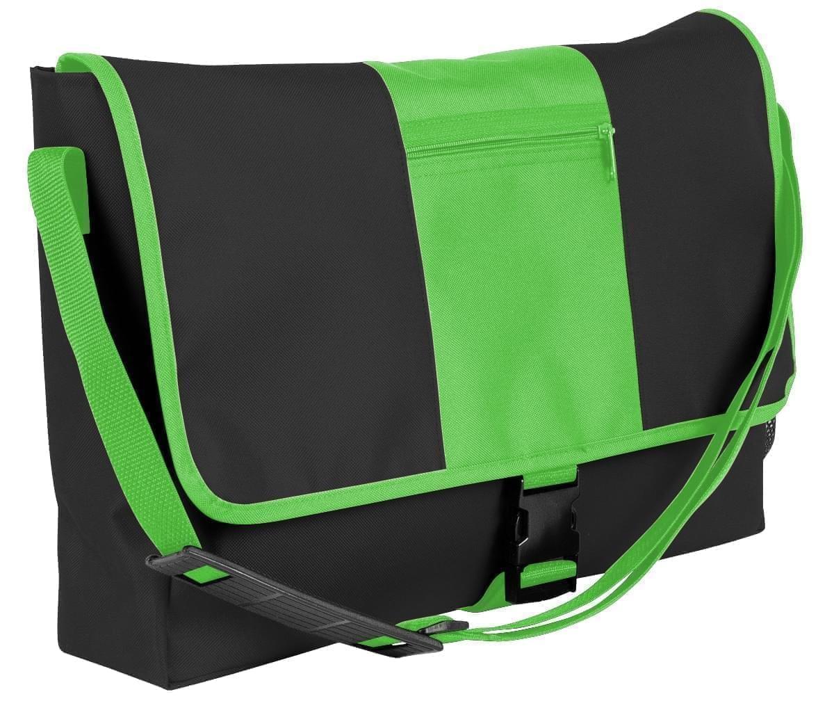 USA Made Nylon Poly Dad Shoulder Bags, Black-Lime, OHEDA19AOY