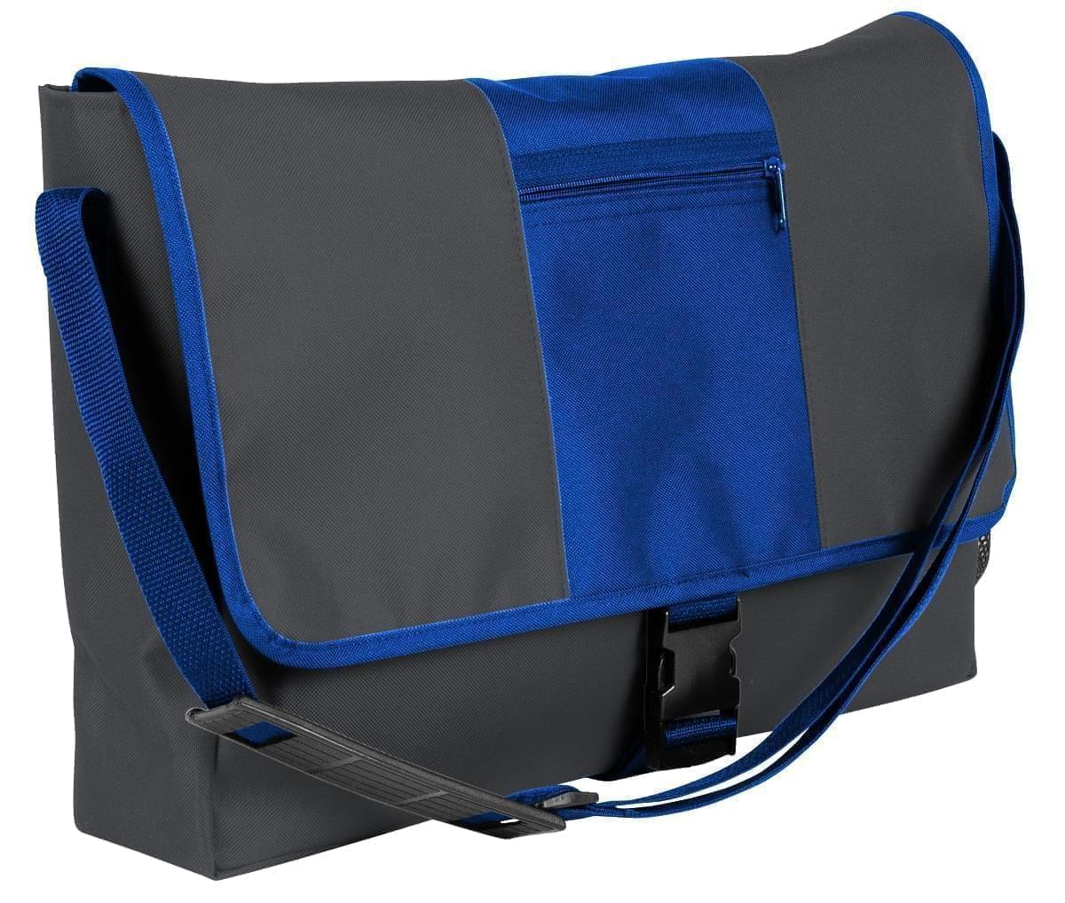 USA Made Nylon Poly Dad Shoulder Bags, Graphite-Royal Blue, OHEDA19ARM