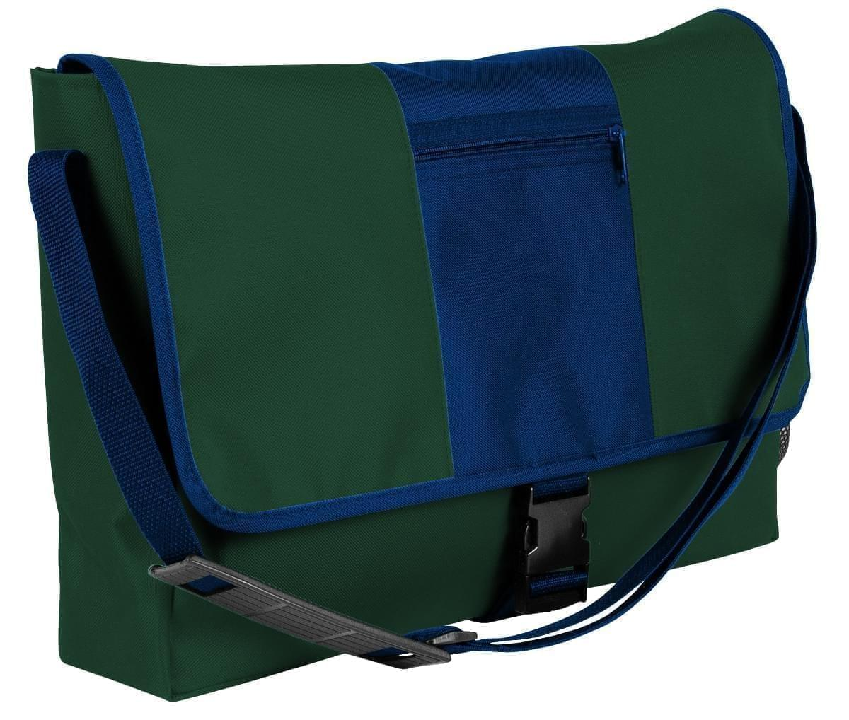 USA Made Nylon Poly Dad Shoulder Bags, Hunter Green-Navy, OHEDA19ASI