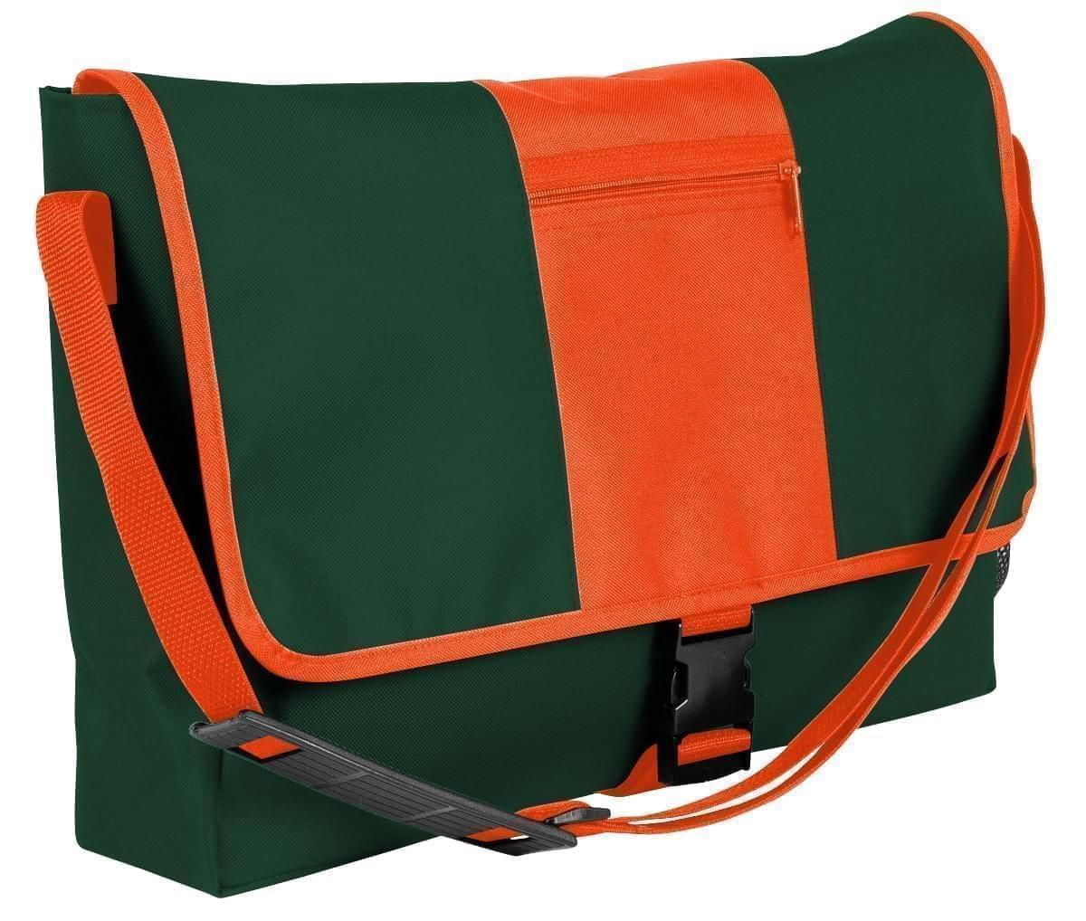 USA Made Nylon Poly Dad Shoulder Bags, Hunter Green-Orange, OHEDA19ASJ