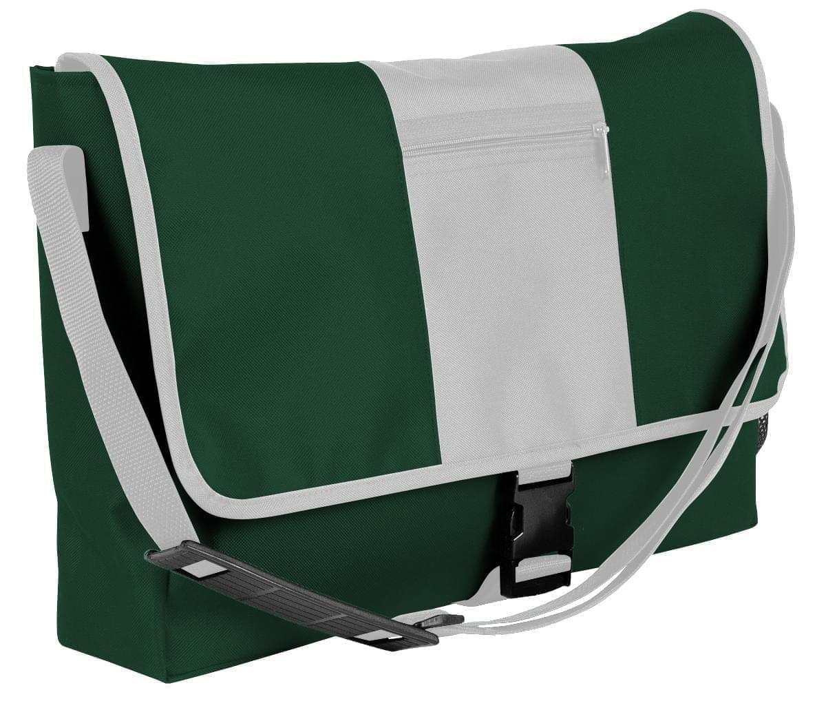 USA Made Nylon Poly Dad Shoulder Bags, Hunter Green-White, OHEDA19ASP