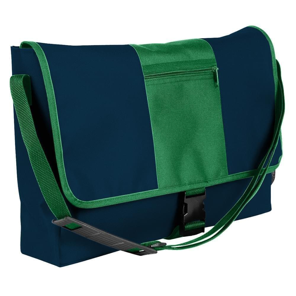USA Made Nylon Poly Dad Shoulder Bags, Navy-Kelly Green, OHEDA19AWH