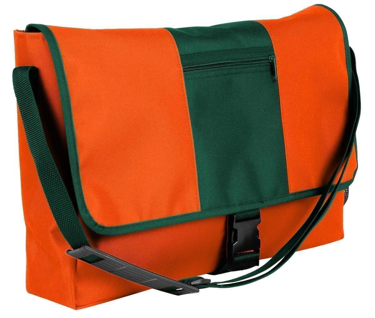 USA Made Nylon Poly Dad Shoulder Bags, Orange-Hunter Green, OHEDA19AXV