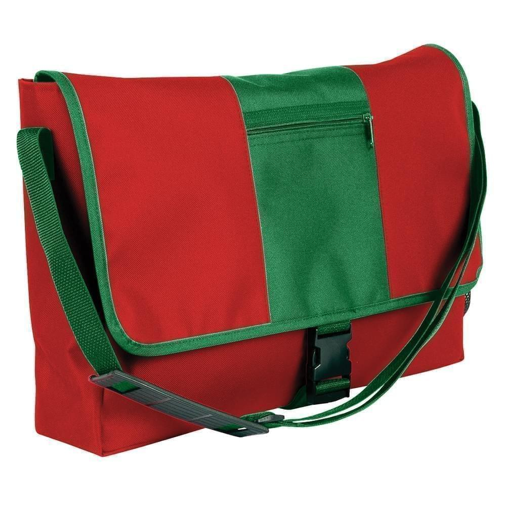 USA Made Nylon Poly Dad Shoulder Bags, Red-Kelly Green, OHEDA19AZH