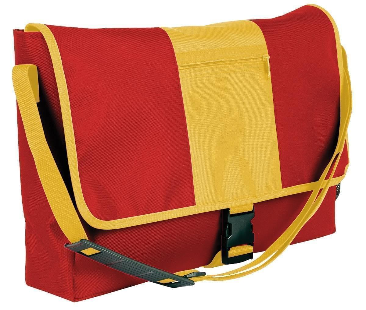 USA Made Nylon Poly Dad Shoulder Bags, Red-Gold, OHEDA19AZQ