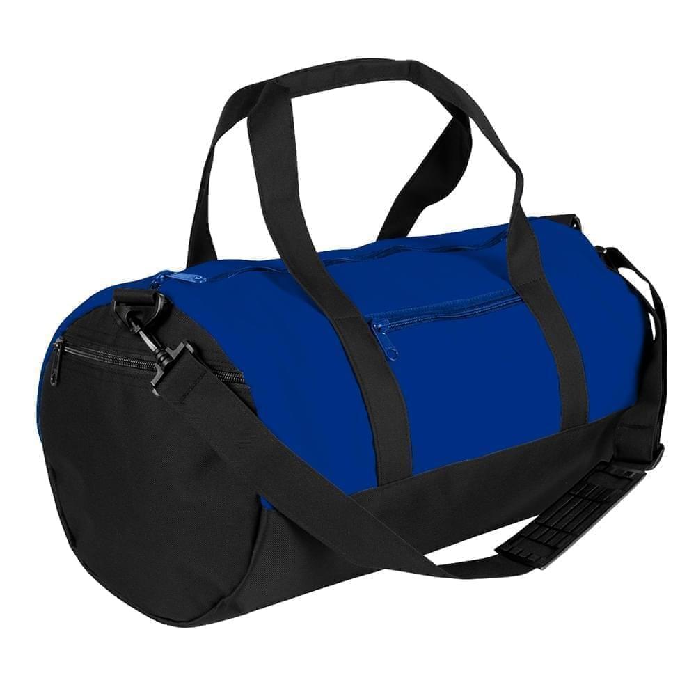 USA Made Nylon Poly Athletic Barrel Bags, Royal Blue-Black, PMLXZ2AA0C