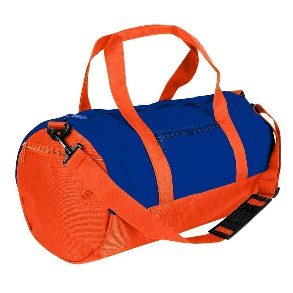USA Made Nylon Poly Athletic Barrel Bags, Royal Blue-Orange, PMLXZ2AA0J