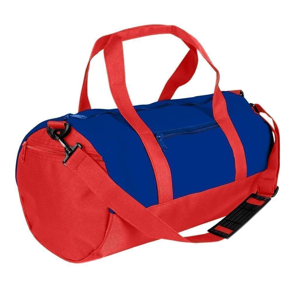 USA Made Nylon Poly Athletic Barrel Bags, Royal Blue-Red, PMLXZ2AA0L
