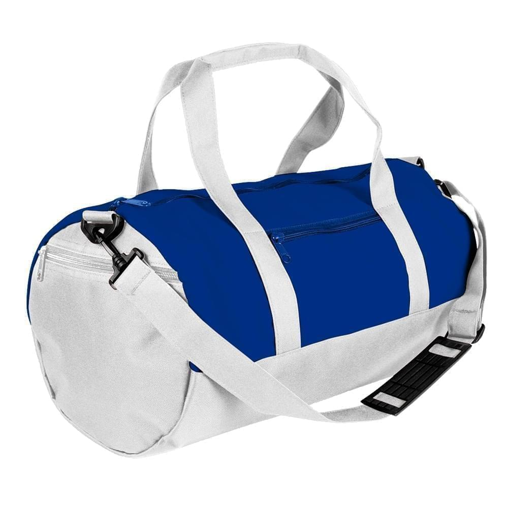 USA Made Nylon Poly Athletic Barrel Bags, Royal Blue-White, PMLXZ2AA0P