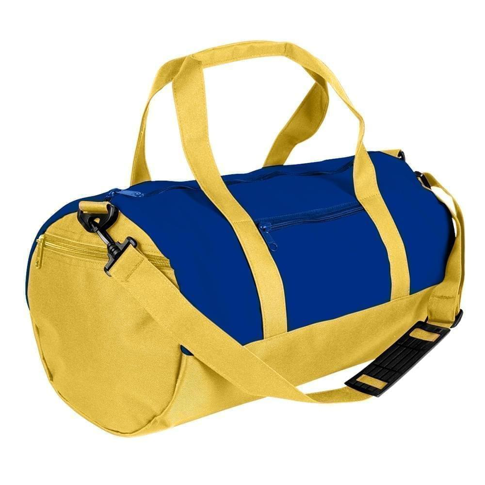 USA Made Nylon Poly Athletic Barrel Bags, Royal Blue-Gold, PMLXZ2AA0Q