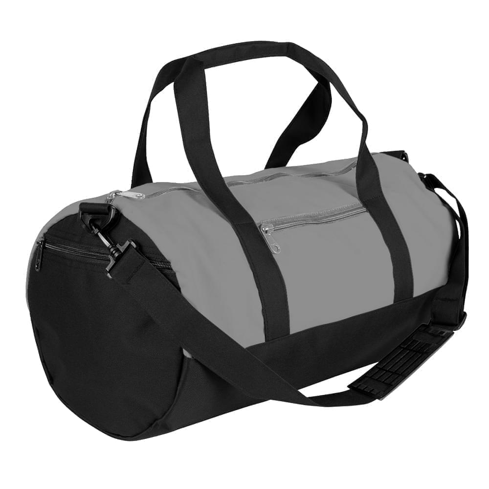 USA Made Nylon Poly Athletic Barrel Bags, Grey-Black, PMLXZ2AA1C