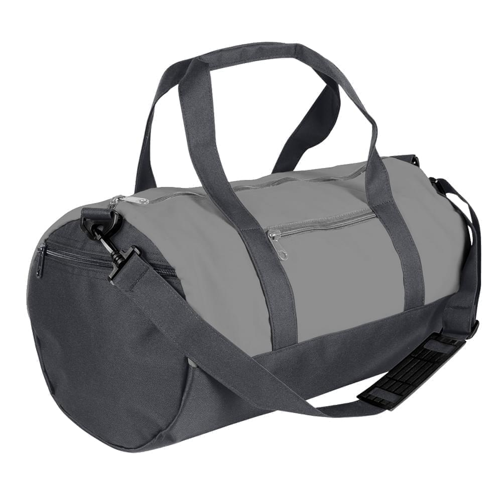 USA Made Nylon Poly Athletic Barrel Bags, Grey-Graphite, PMLXZ2AA1F