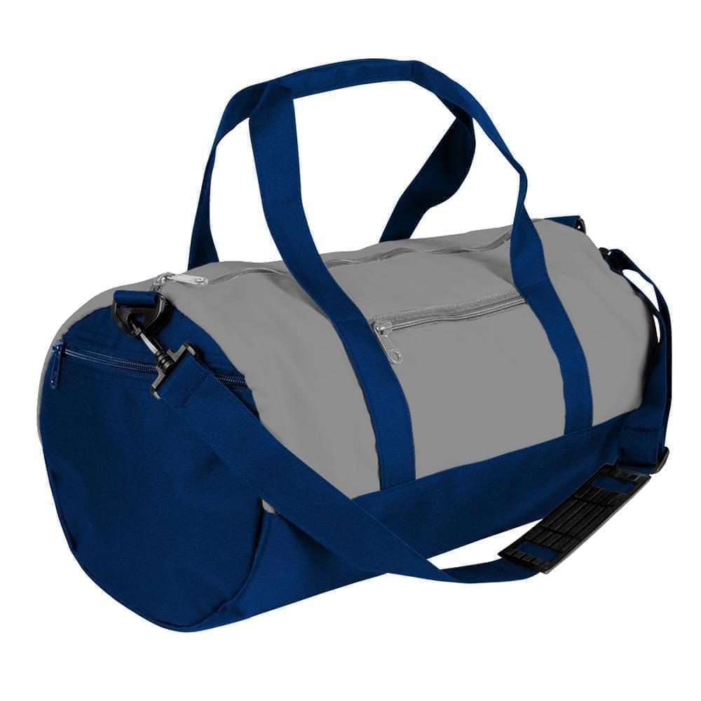 USA Made Nylon Poly Athletic Barrel Bags, Grey-Navy, PMLXZ2AA1I