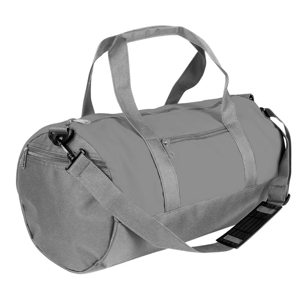 USA Made Nylon Poly Athletic Barrel Bags, Grey-Grey, PMLXZ2AA1N