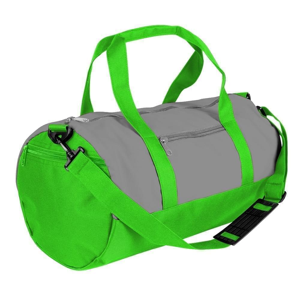 USA Made Nylon Poly Athletic Barrel Bags, Grey-Lime, PMLXZ2AA1Y