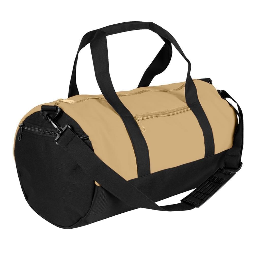 USA Made Nylon Poly Athletic Barrel Bags, Khaki-Black, PMLXZ2AA2C