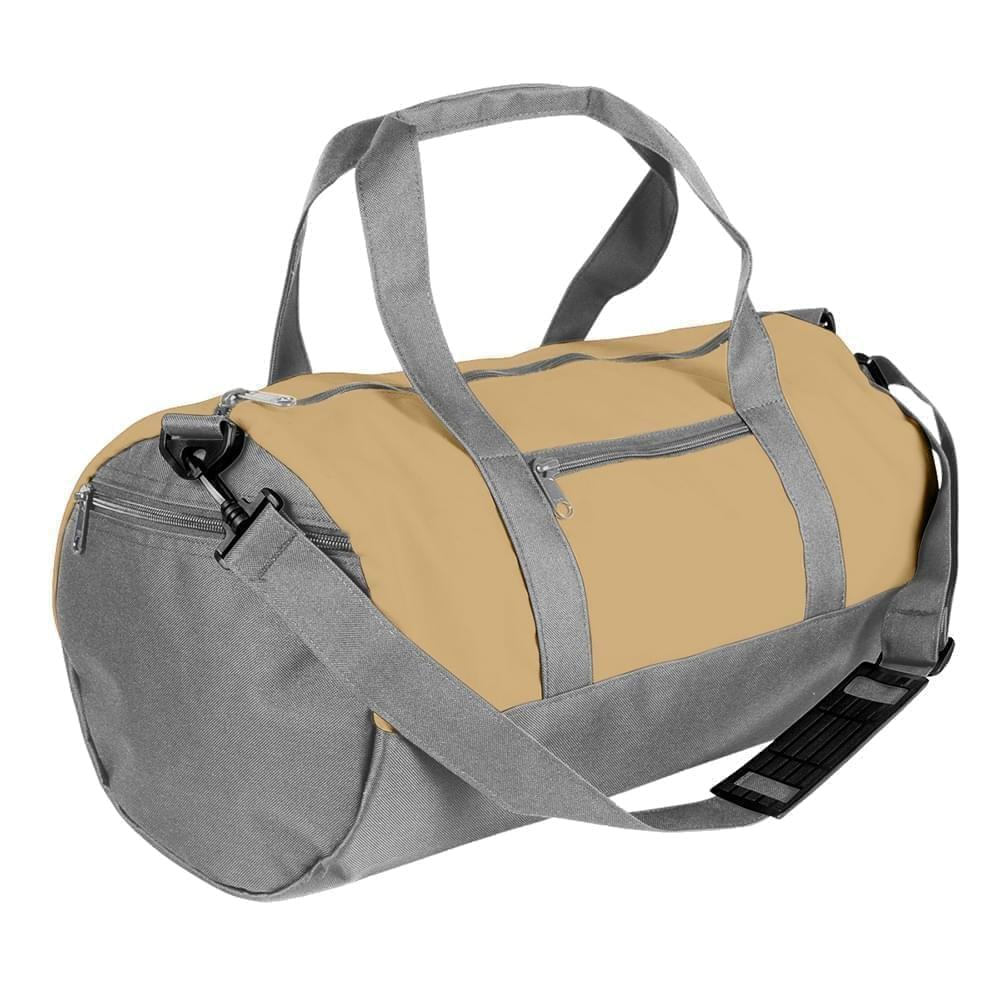 USA Made Nylon Poly Athletic Barrel Bags, Khaki-Grey, PMLXZ2AA2N