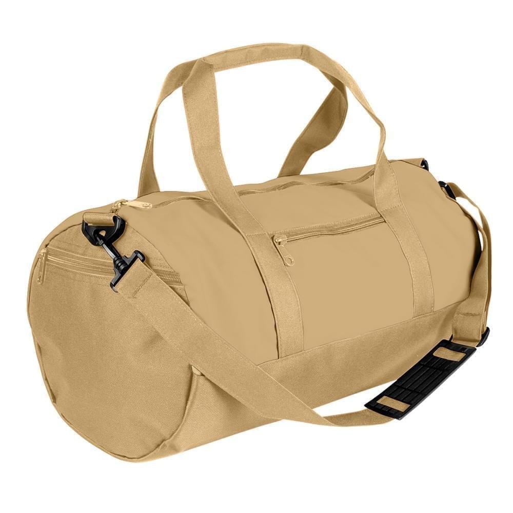 USA Made Nylon Poly Athletic Barrel Bags, Khaki-Khaki, PMLXZ2AA2X