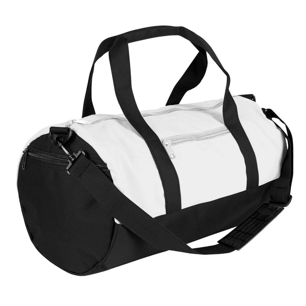 USA Made Nylon Poly Athletic Barrel Bags, White-Black, PMLXZ2AA3C