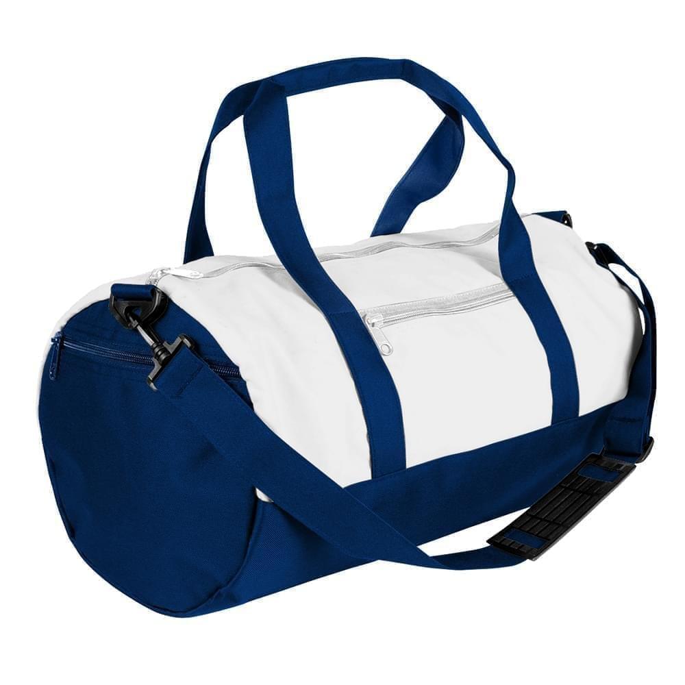 USA Made Nylon Poly Athletic Barrel Bags, White-Navy, PMLXZ2AA3I