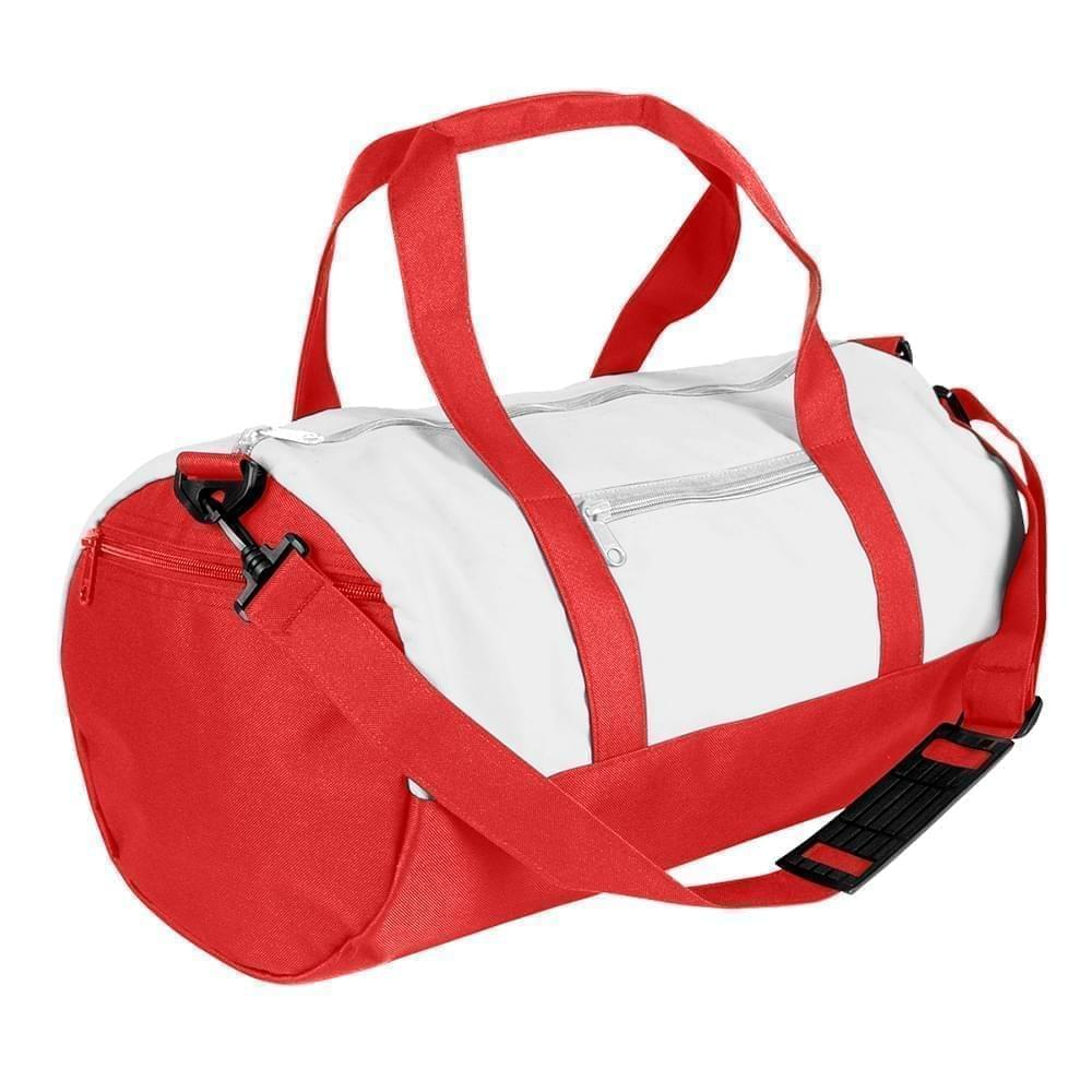 USA Made Nylon Poly Athletic Barrel Bags, White-Red, PMLXZ2AA3L