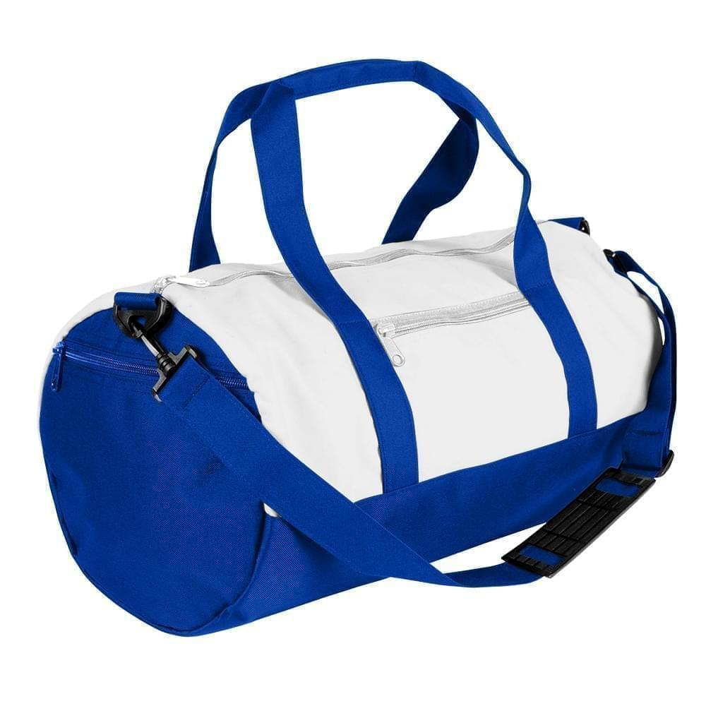 USA Made Nylon Poly Athletic Barrel Bags, White-Royal Blue, PMLXZ2AA3M