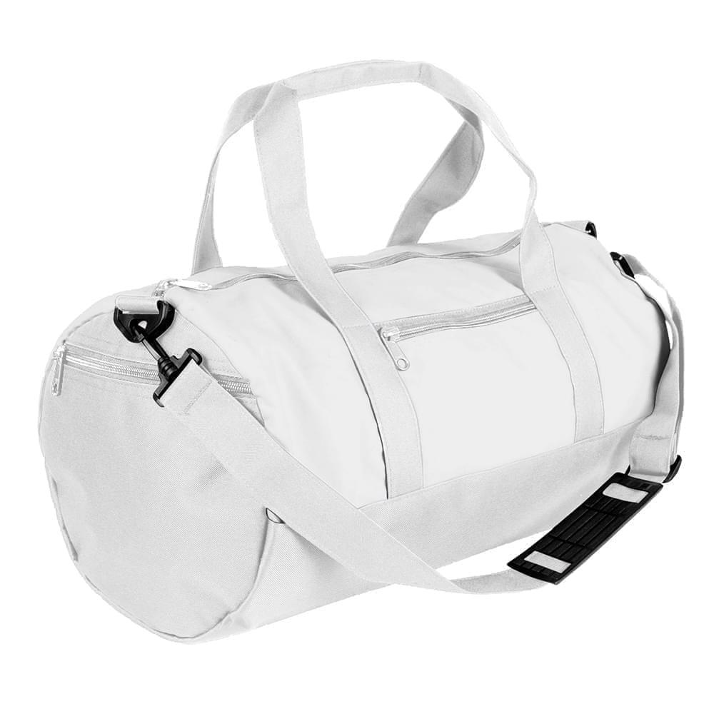 USA Made Nylon Poly Athletic Barrel Bags, White-White, PMLXZ2AA3P