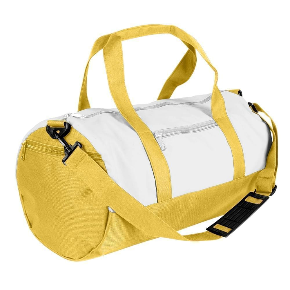 USA Made Nylon Poly Athletic Barrel Bags, White-Gold, PMLXZ2AA3Q