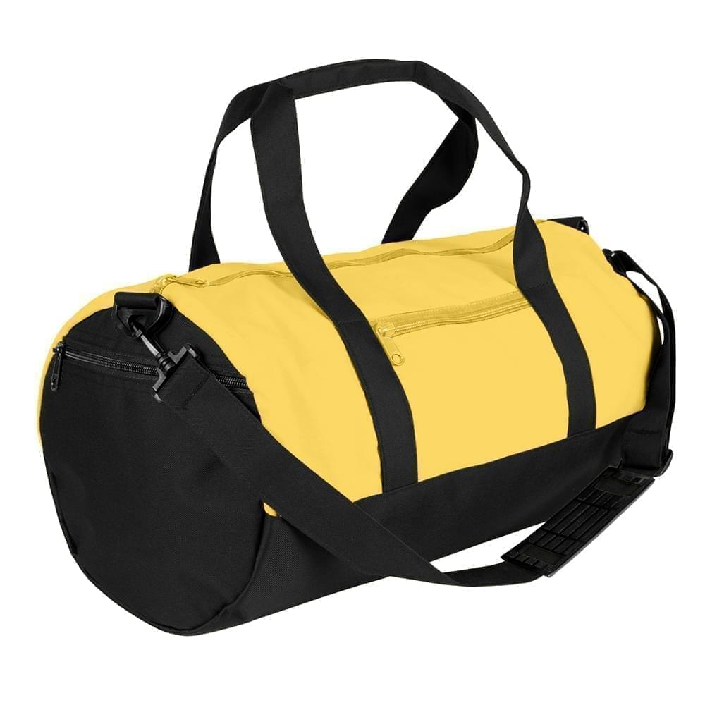 USA Made Nylon Poly Athletic Barrel Bags, Gold-Black, PMLXZ2AA4C