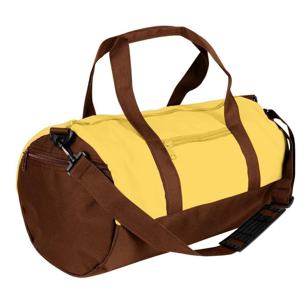 USA Made Nylon Poly Athletic Barrel Bags, Gold-Brown, PMLXZ2AA4D