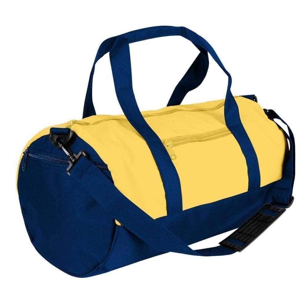 USA Made Nylon Poly Athletic Barrel Bags, Gold-Navy, PMLXZ2AA4I