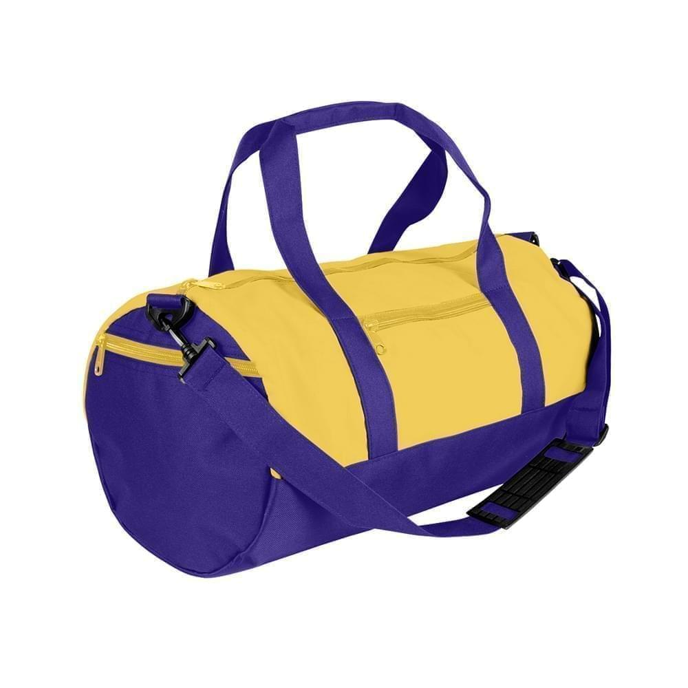 USA Made Nylon Poly Athletic Barrel Bags, Gold-Purple, PMLXZ2AA4K