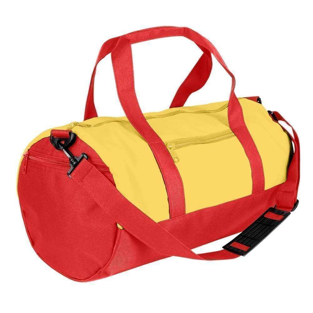 USA Made Nylon Poly Athletic Barrel Bags, Gold-Red, PMLXZ2AA4L
