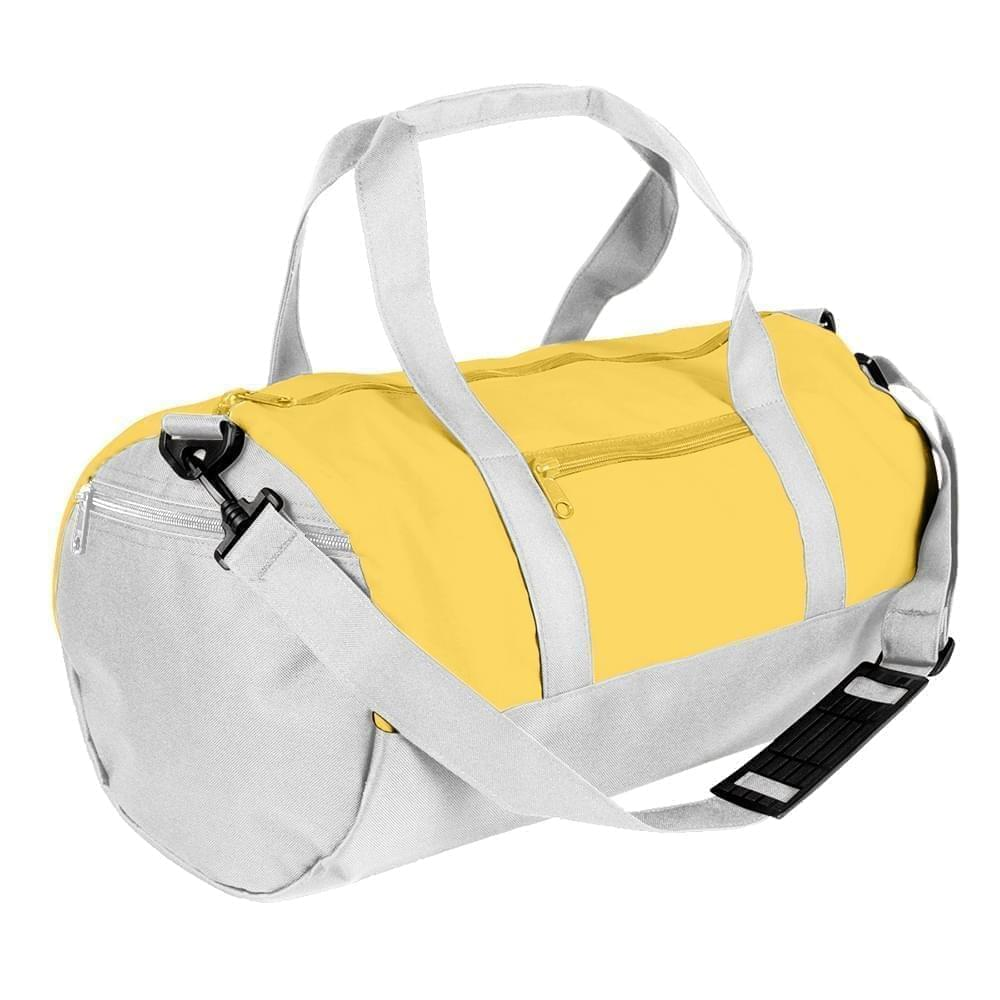 USA Made Nylon Poly Athletic Barrel Bags, Gold-White, PMLXZ2AA4P