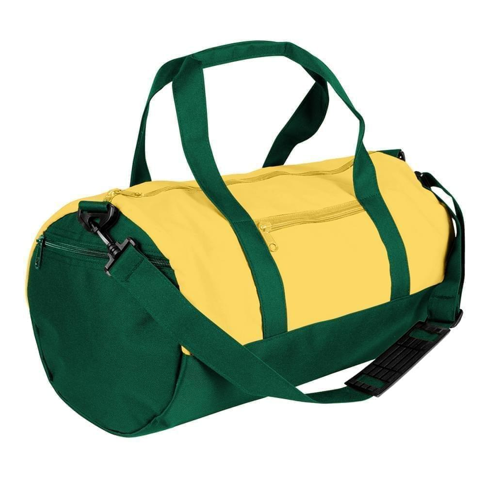 USA Made Nylon Poly Athletic Barrel Bags, Gold-Hunter Green, PMLXZ2AA4V