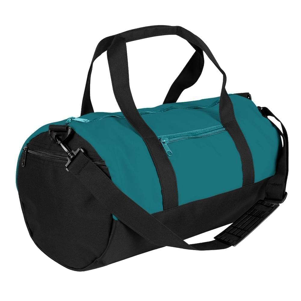 USA Made Nylon Poly Athletic Barrel Bags, Turquoise-Black, PMLXZ2AA9C