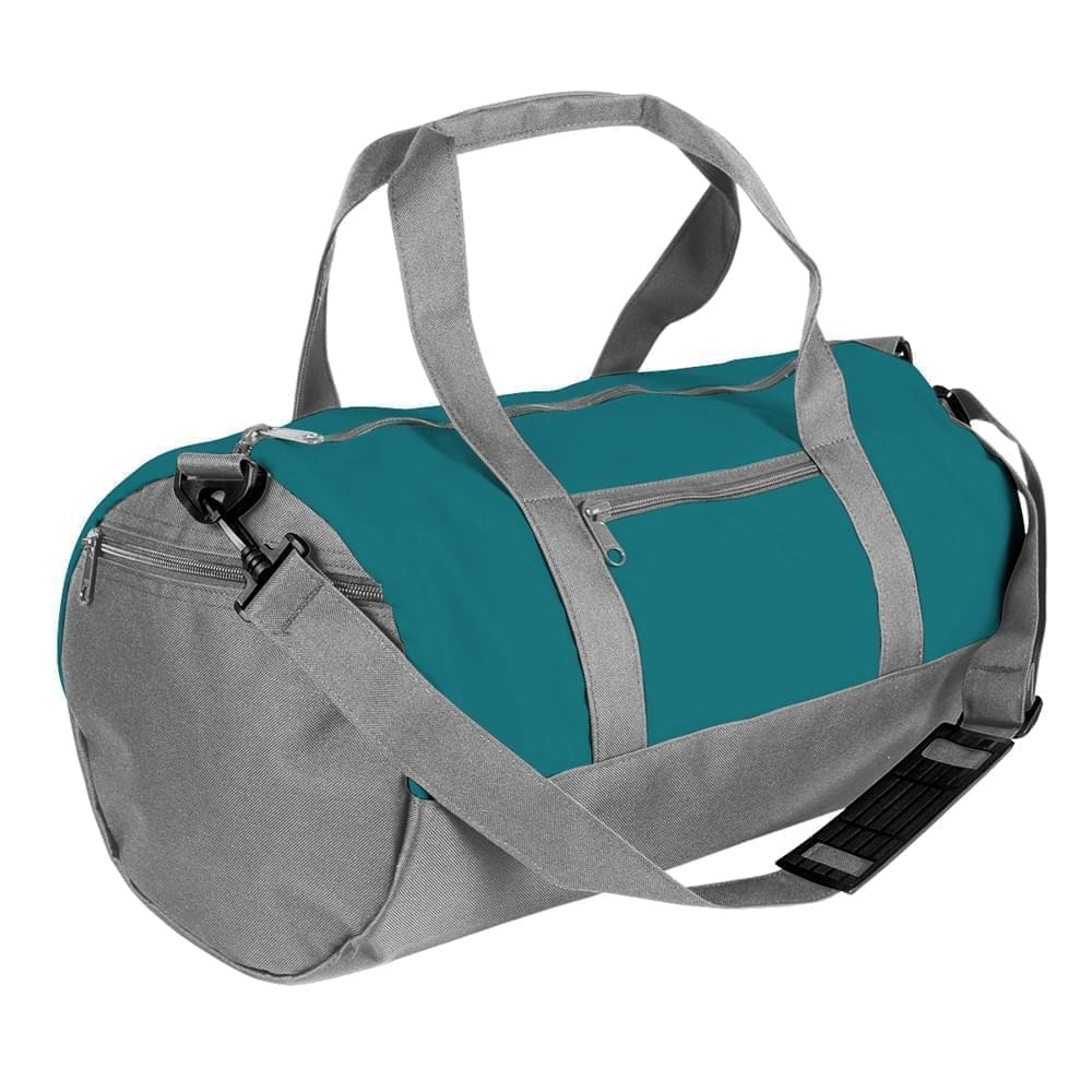USA Made Nylon Poly Athletic Barrel Bags, Turquoise-Grey, PMLXZ2AA9N