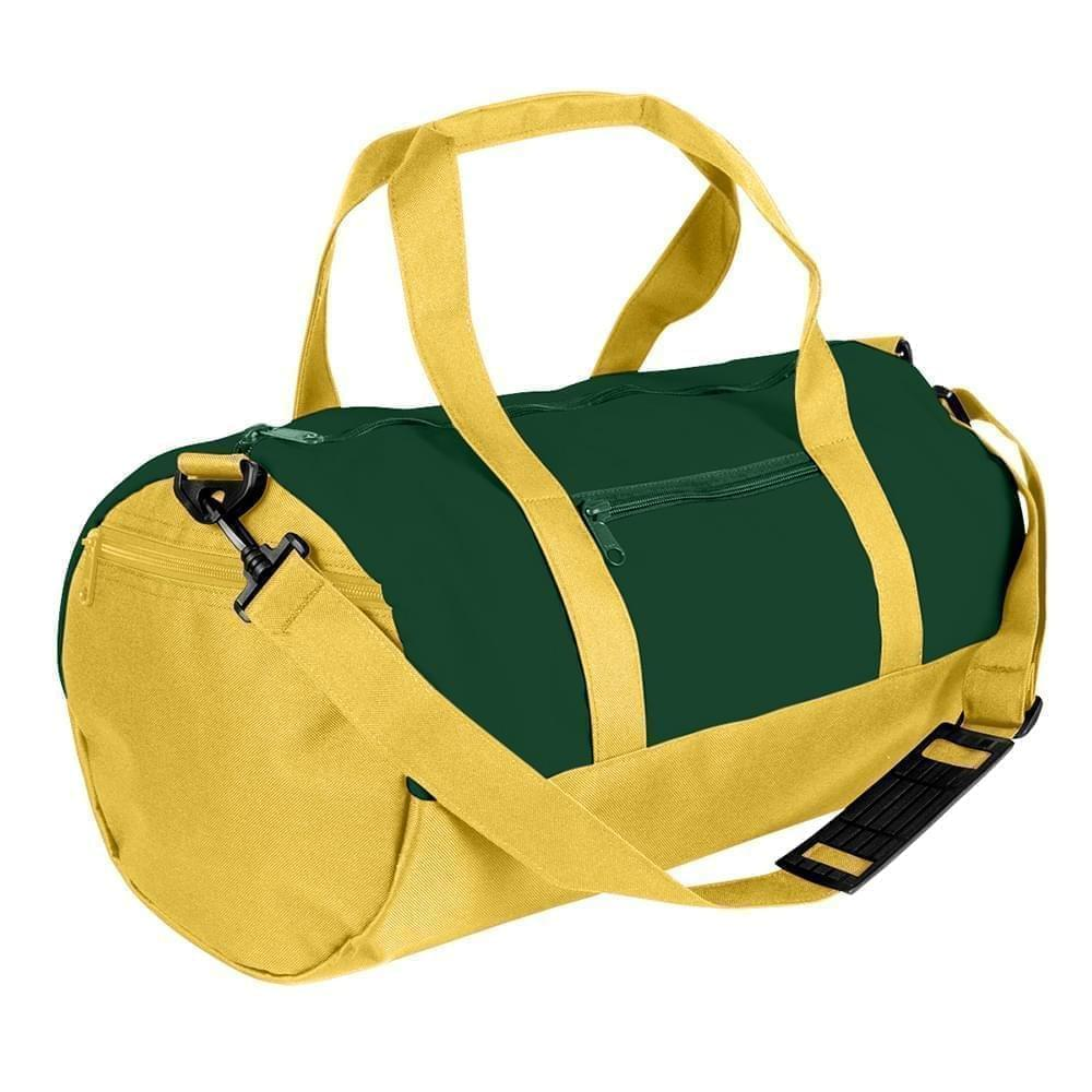 USA Made Heavy Canvas Athletic Barrel Bags, Hunter Green-Gold, PMLXZ2AAL5