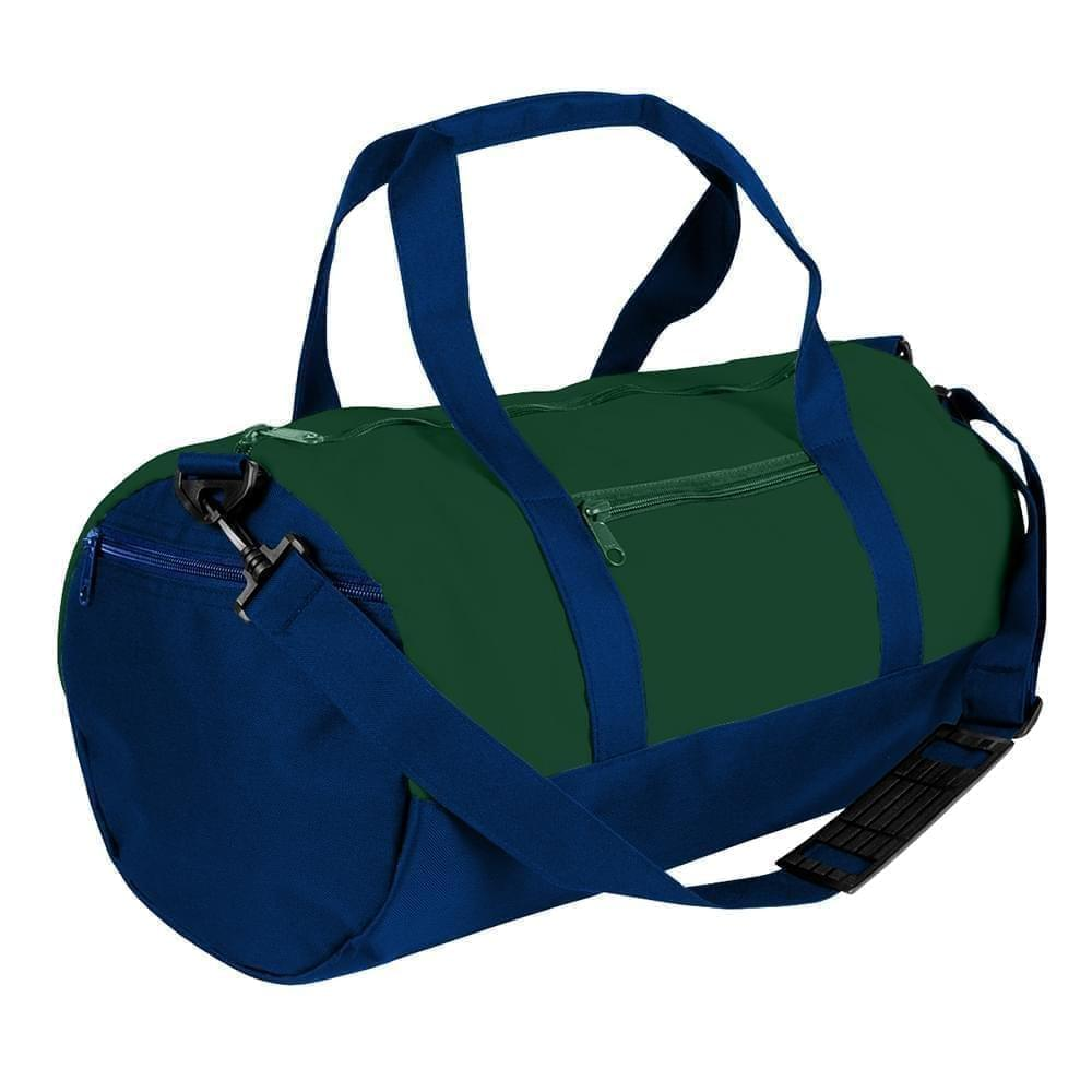 USA Made Heavy Canvas Athletic Barrel Bags, Hunter Green-Navy, PMLXZ2AALZ