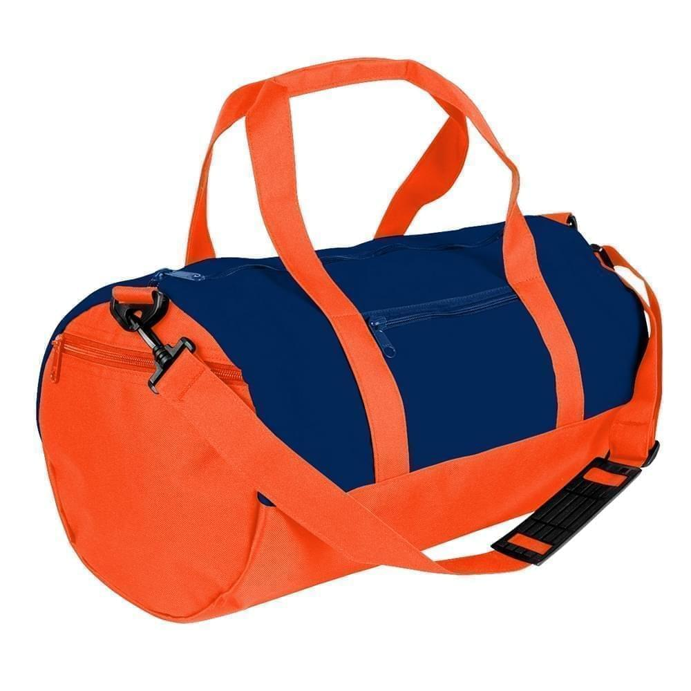 USA Made Heavy Canvas Athletic Barrel Bags, Navy-Orange, PMLXZ2AAM0