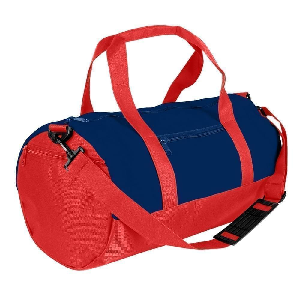 USA Made Heavy Canvas Athletic Barrel Bags, Navy-Red, PMLXZ2AAM2