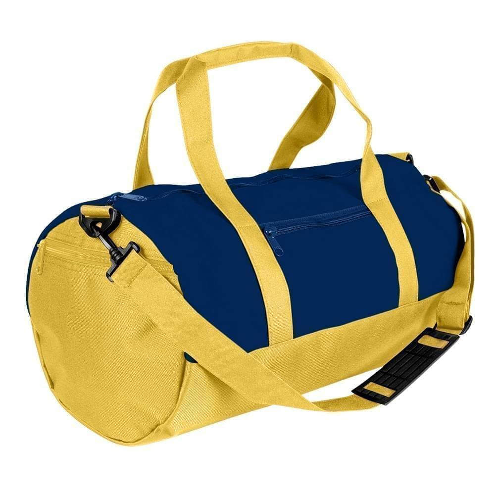 USA Made Heavy Canvas Athletic Barrel Bags, Navy-Gold, PMLXZ2AAM5