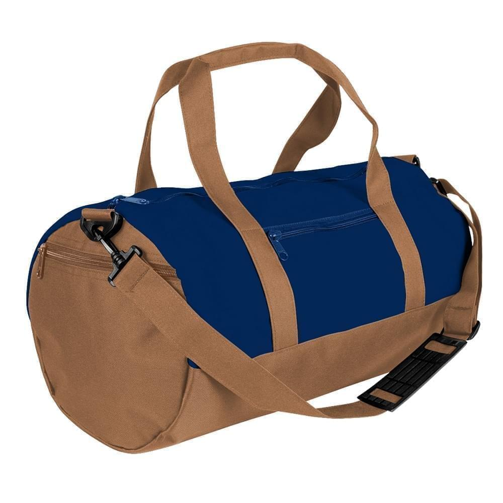USA Made Heavy Canvas Athletic Barrel Bags, Navy-Bronze, PMLXZ2AAMO