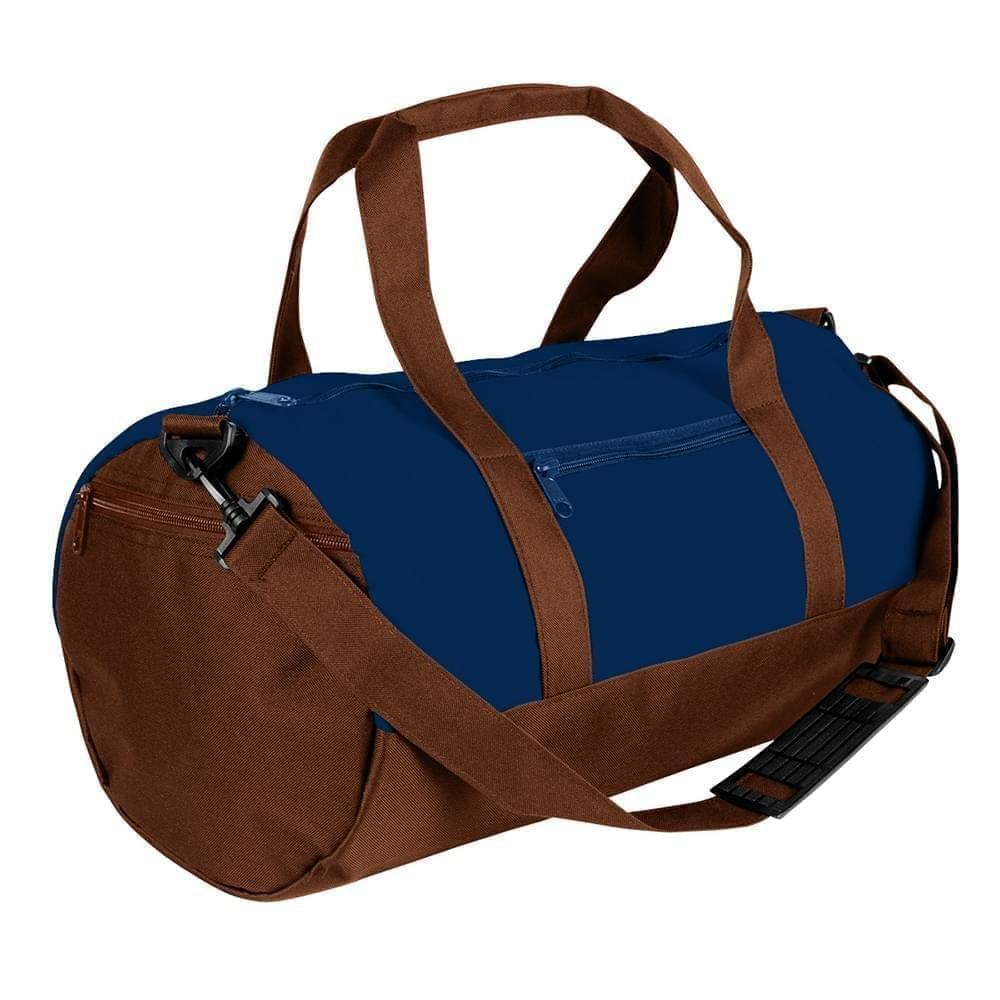 USA Made Heavy Canvas Athletic Barrel Bags, Navy-Brown, PMLXZ2AAMS