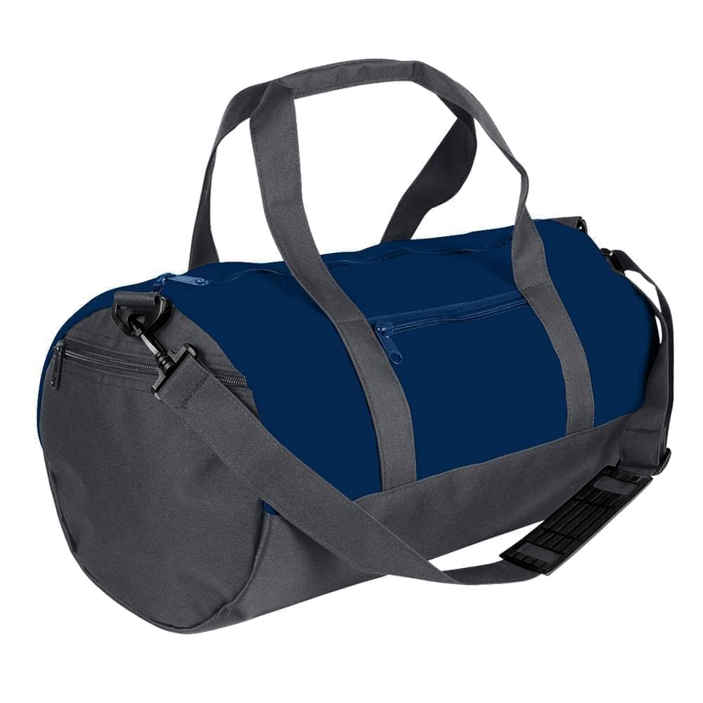 USA Made Heavy Canvas Athletic Barrel Bags, Navy-Graphite, PMLXZ2AAMT