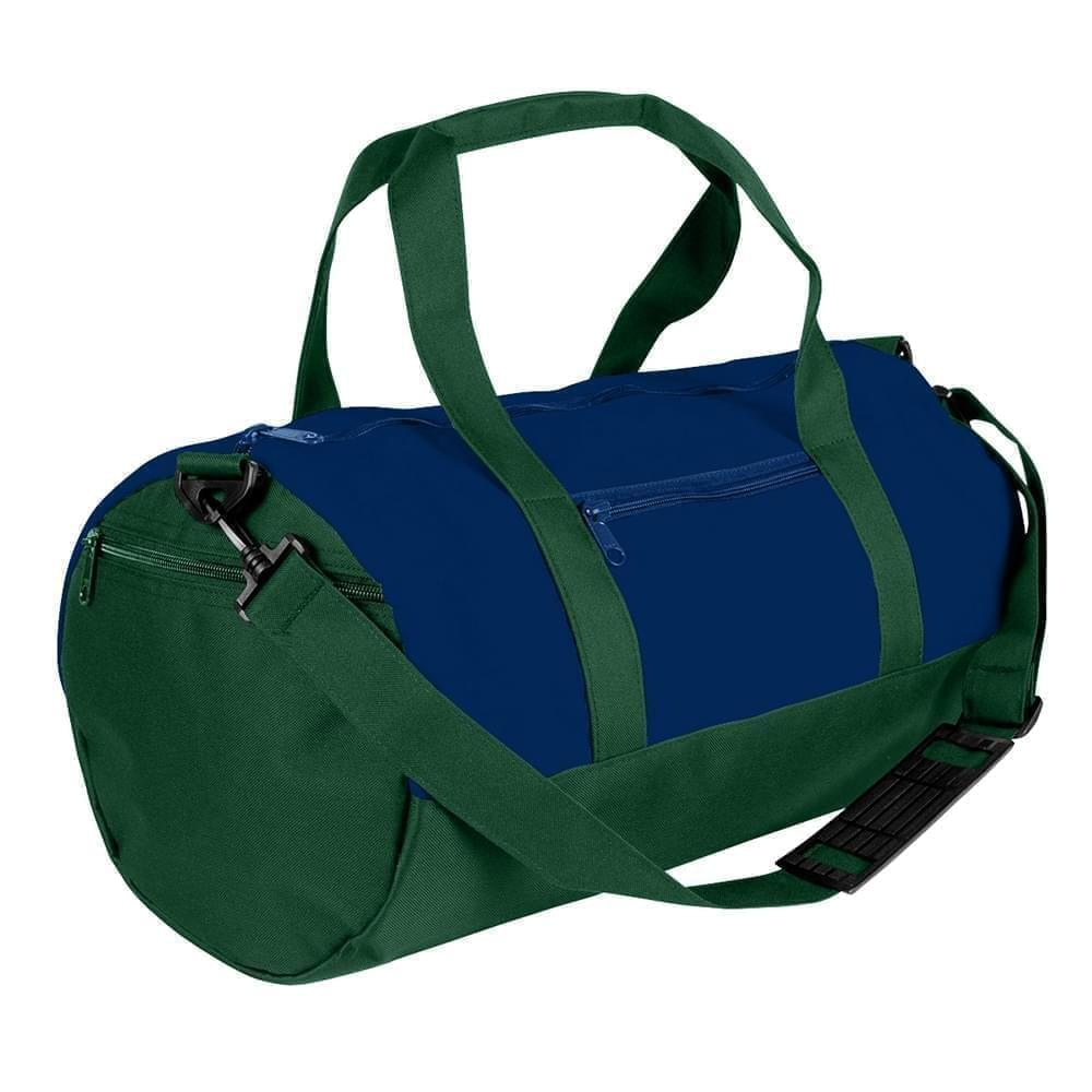 USA Made Heavy Canvas Athletic Barrel Bags, Navy-Hunter Green, PMLXZ2AAMV
